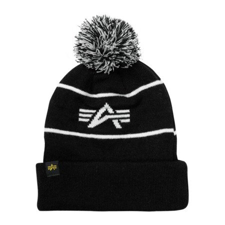 Alpha Industries Block Bobble Beanie Black