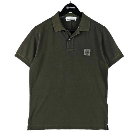 STONE ISLAND PIGMENT DYE TREATMENT POLO MILITARY GREEN